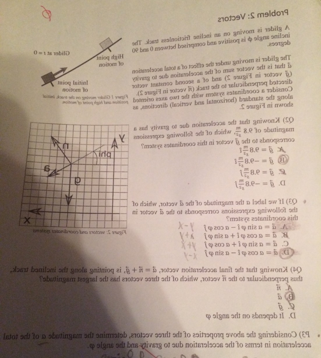 Vector Angle Properties: Problem Vectors Glider Moving Incline Frictionless Track Incline Angle Positive Comprise Q