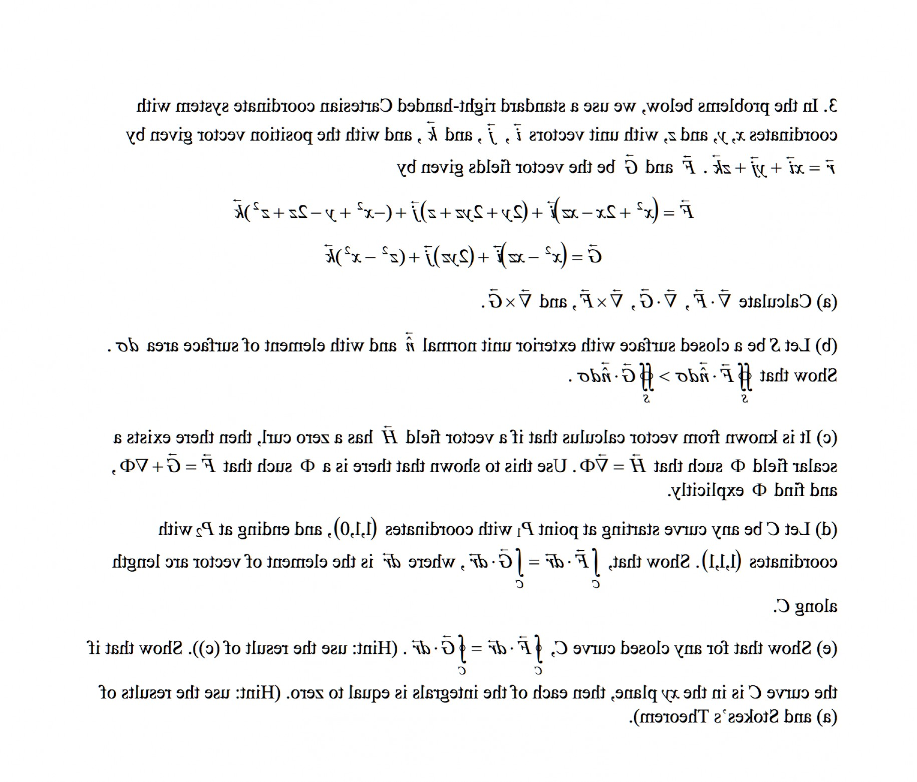 Zero Position Vector: Problems Use Standard Right Handed Cartesian Coordinate System Coordinates X Y Z Unit Vect Q