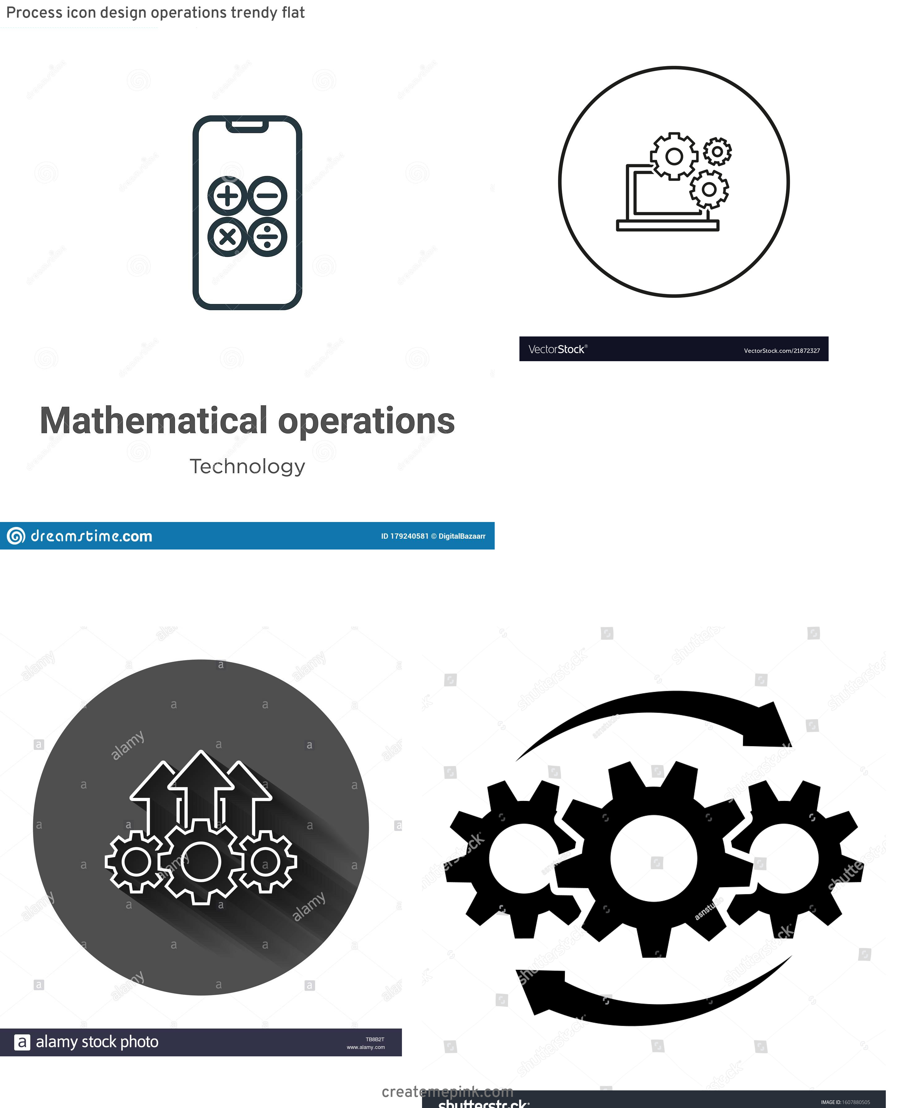 Operations Icon Vector: Process Icon Design Operations Trendy Flat