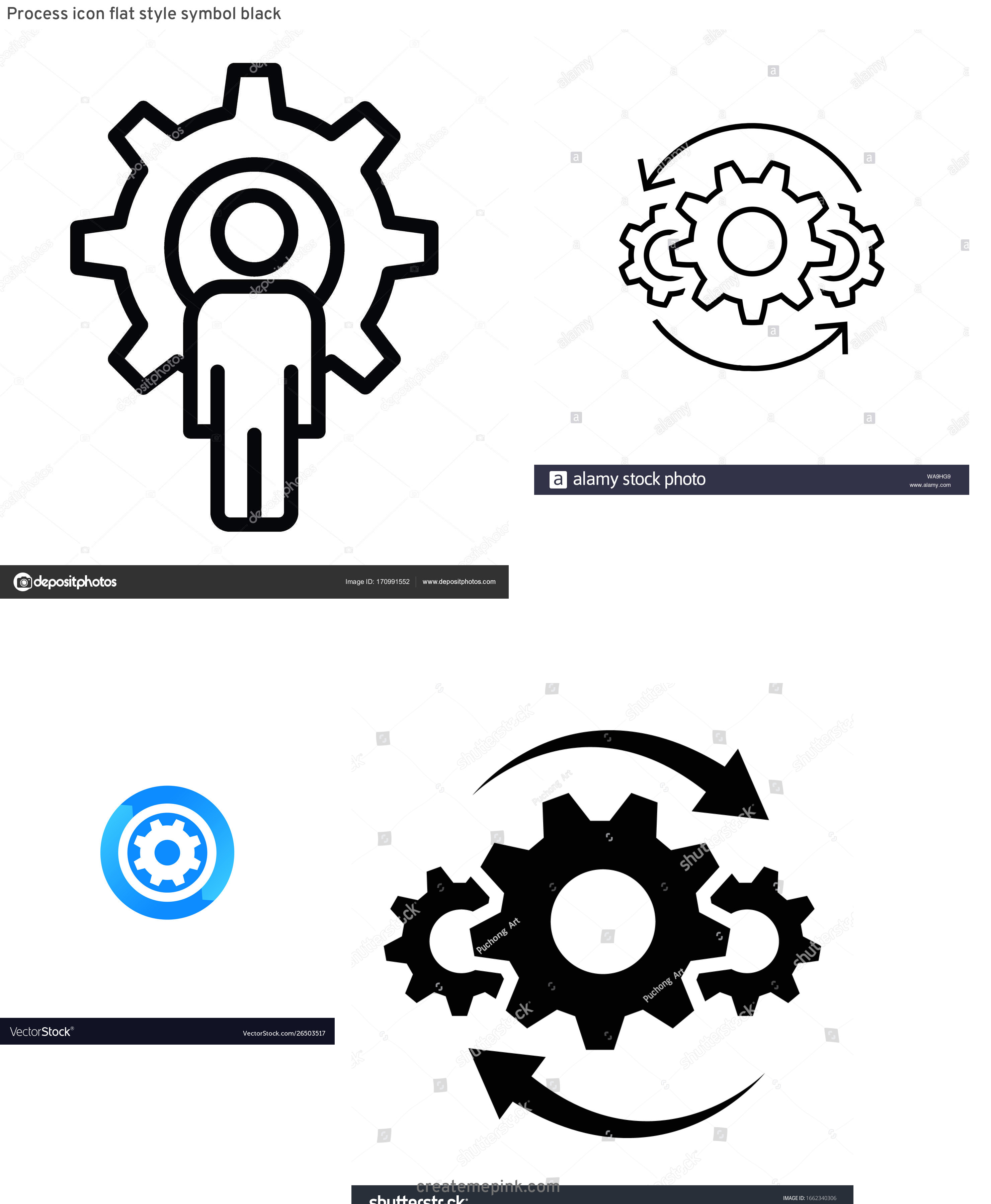 Operations Icon Vector: Process Icon Flat Style Symbol Black