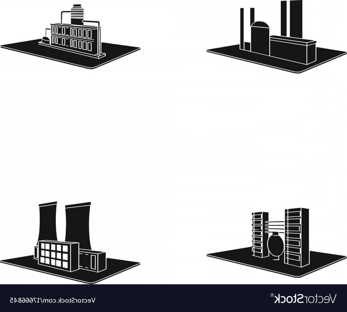 Factory Vector Skyline: Processing Factorymetallurgical Plant Factory Vector
