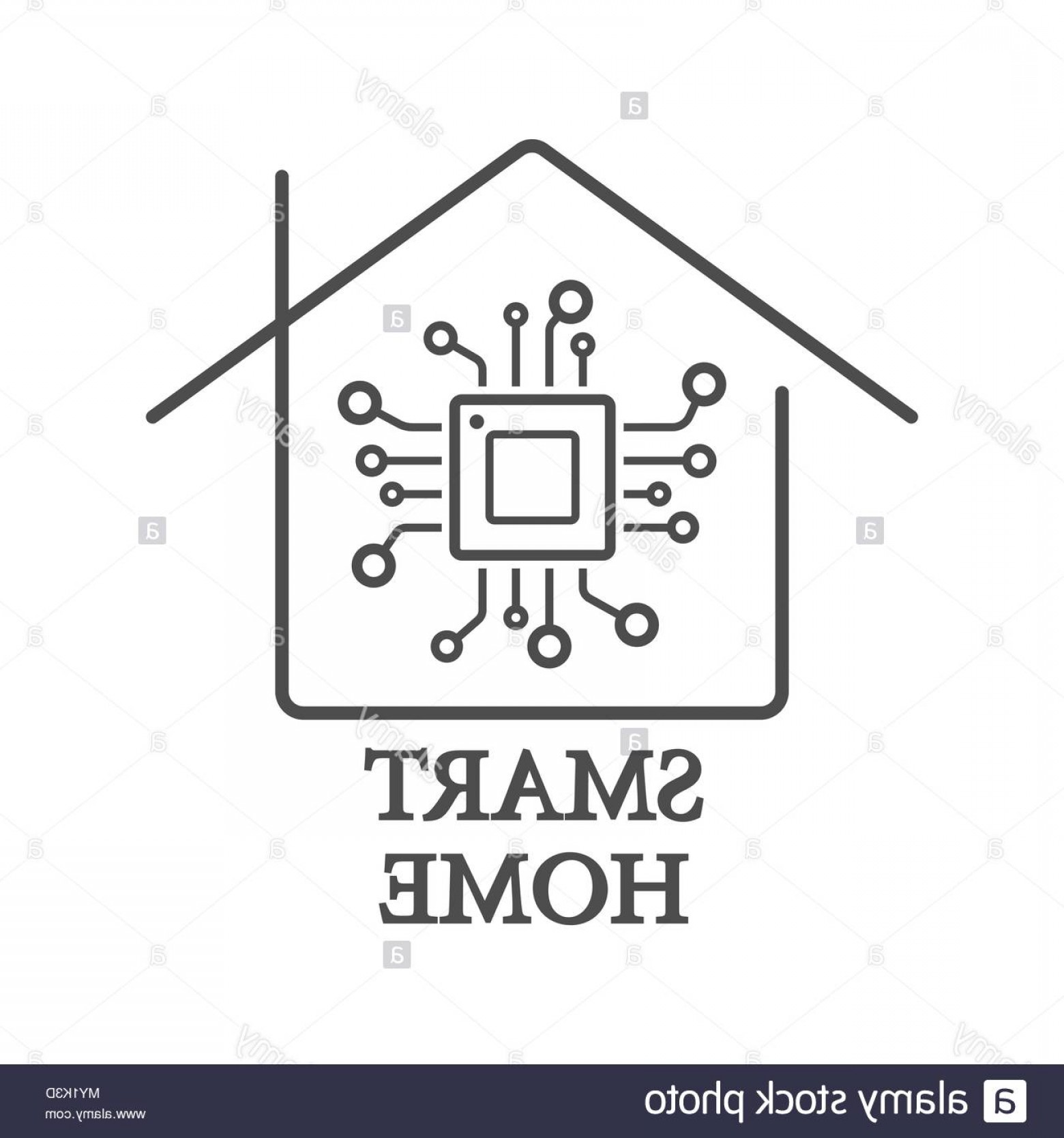 Home Logo Vector: Processor Styled Smart Home Logo Vector With Chip Image
