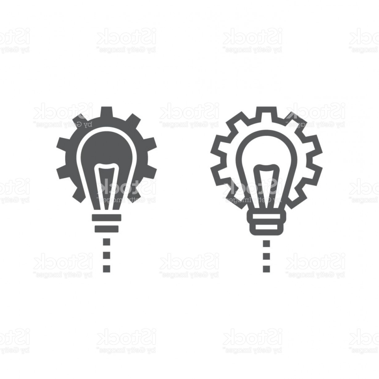 Vector Gear Graphics: Product Development Line And Glyph Icon Development And Business Lightbulb In Gear Gm