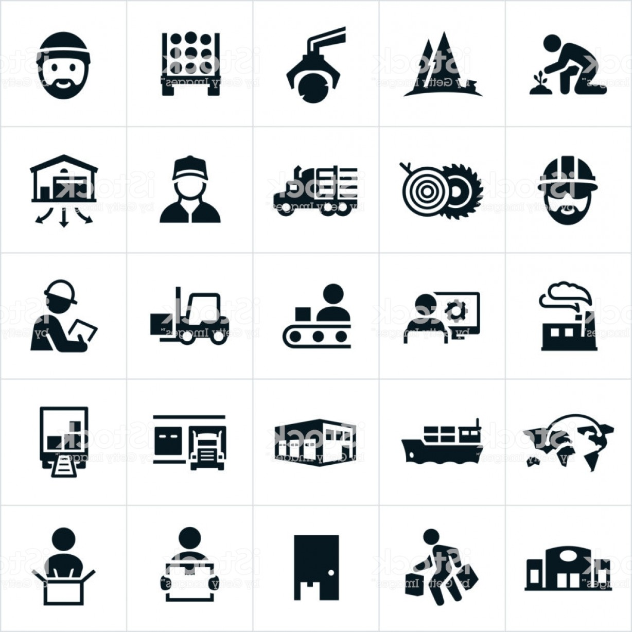 In Icon Stock Vector: Product Supply Chain Icons Gm