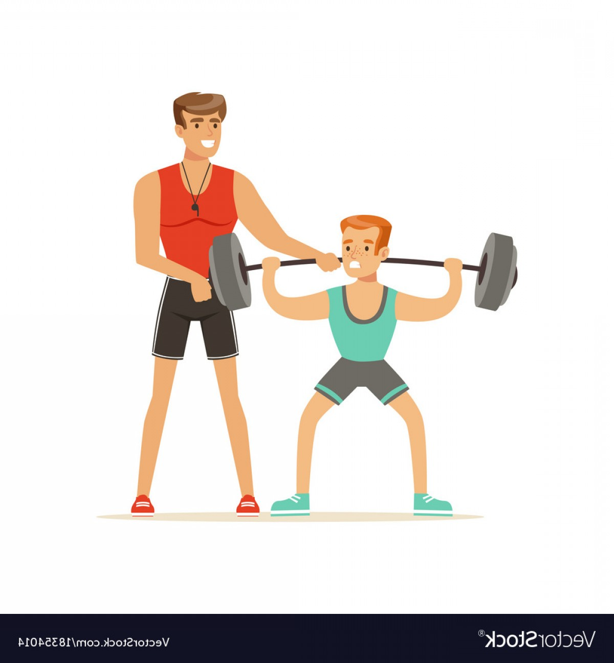Man Vector Exercise: Professional Fitness Coach Man Exercising With A Vector