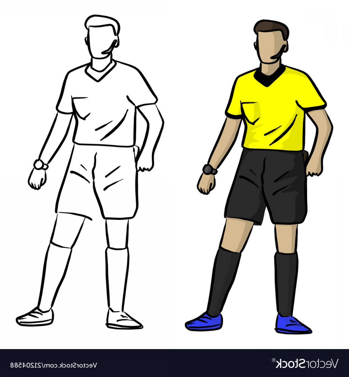 Vector Professional Goal: Professional Soccer Referee Sketch Vector