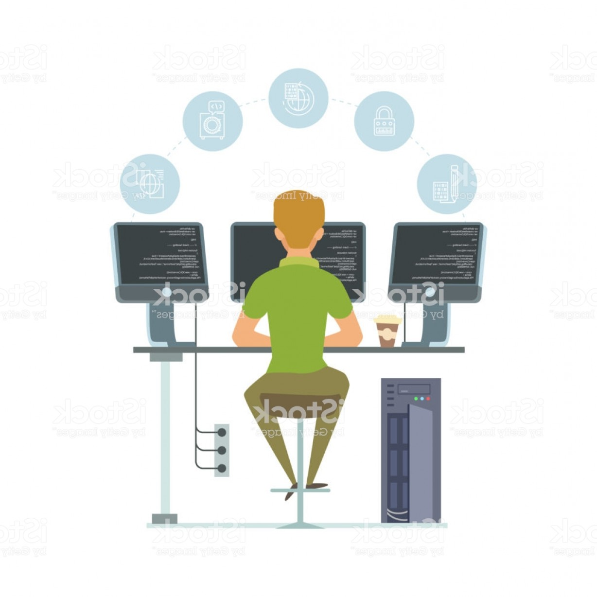Worker Vector: Programmer Information Technology Worker Vector Illustration Programming Icons And Gm