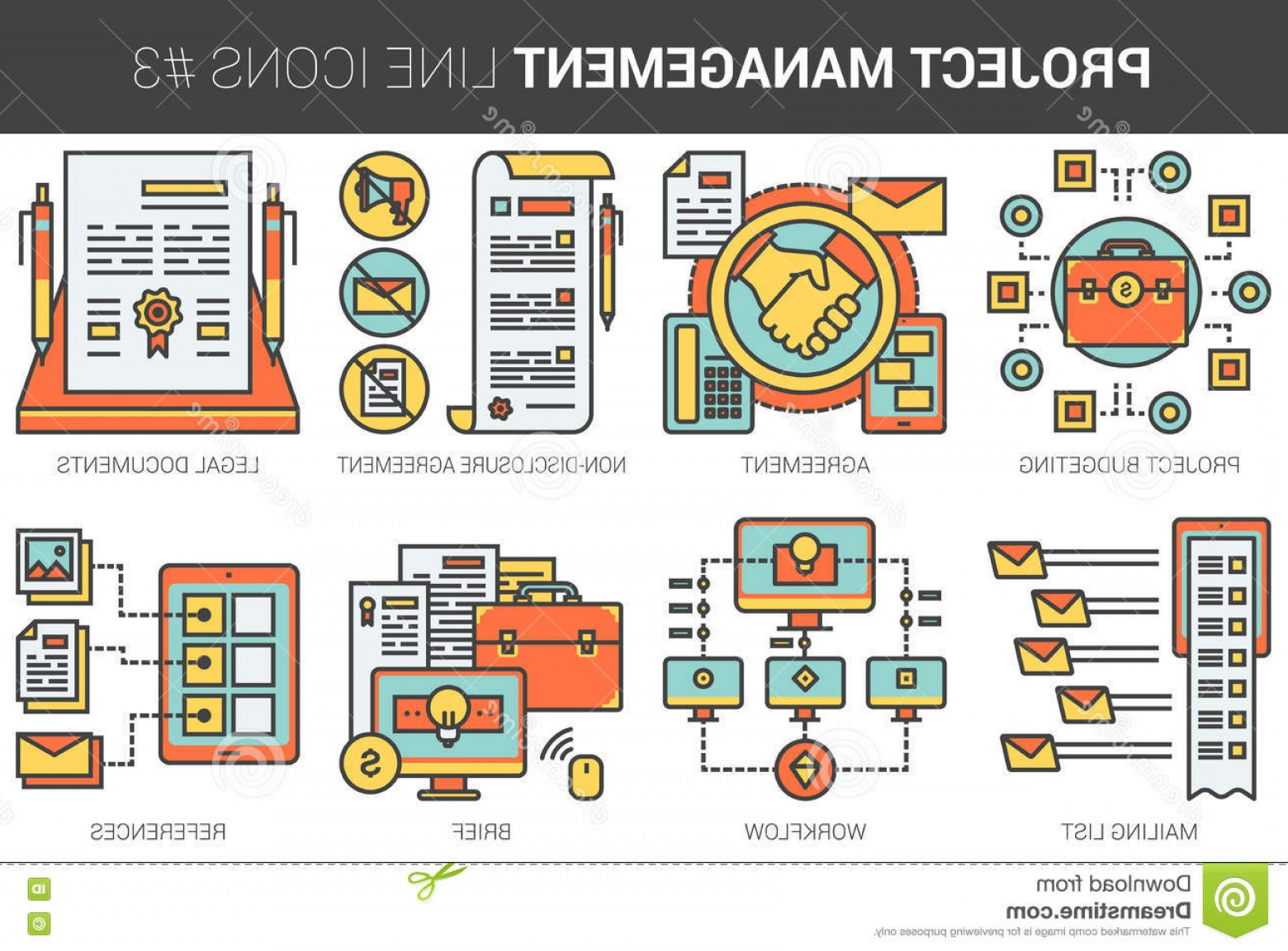 Art Project Icon Vector: Project Management Business Concept Flat Line Art Vector Icons