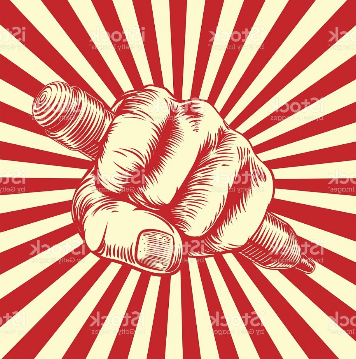 Propaganda Art Poster Vector: Propaganda Woodcut Pencil Fist Hand Gm