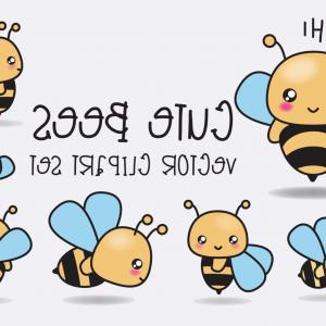 Kawaii Bug Vector: Cute Bee Kawaii Character Vector