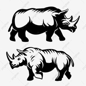 Rhino Vector Art: Printed Kitchen Splashbacks Cartoon Draw Cute Rhino Vector Illustration Art