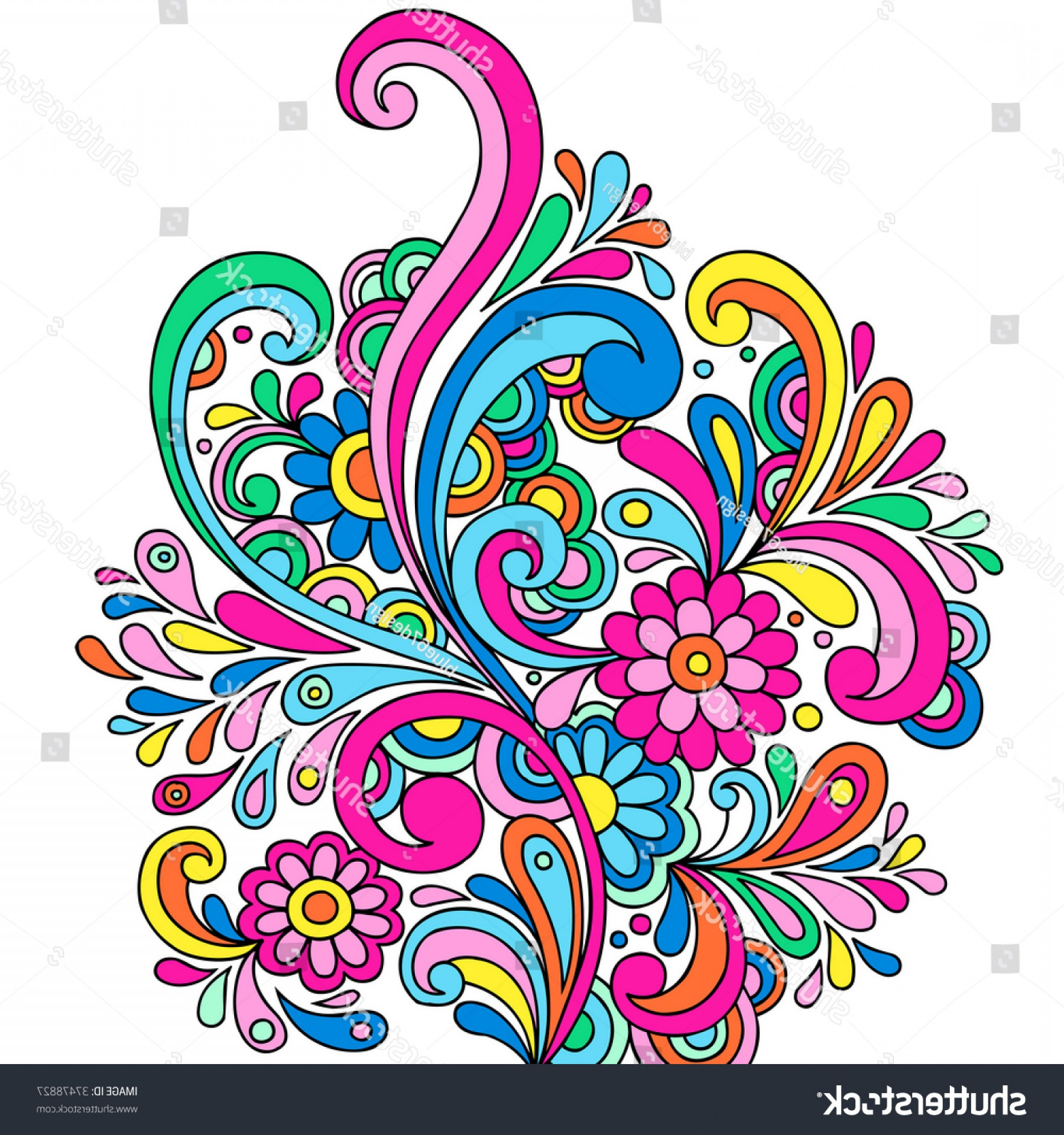 Paisley Swirl Flower Vector: Psychedelic Abstract Paisley Doodle Flowers Swirls