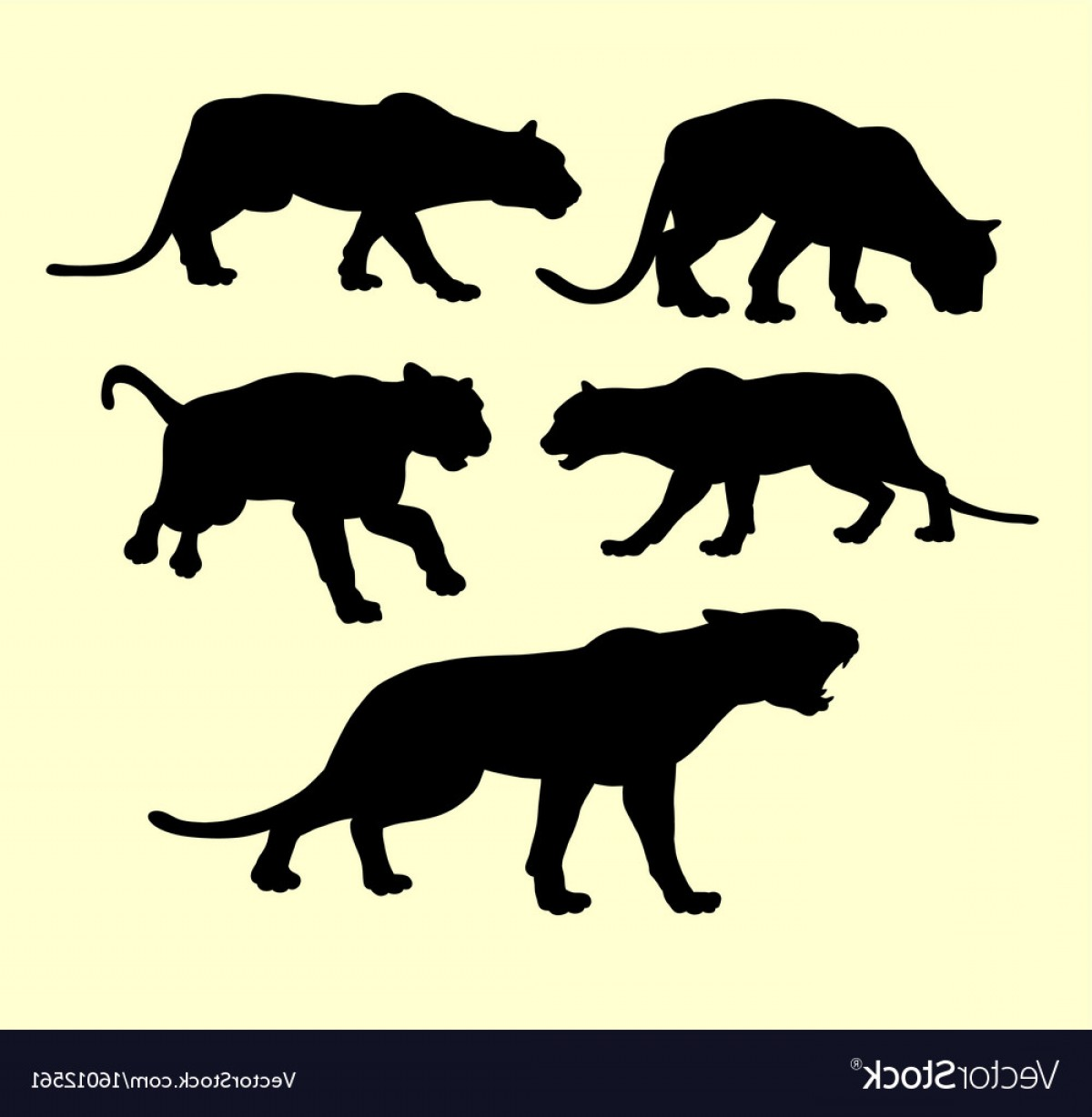 Panther Silhouette Vector: Puma Panther And Tiger Animal Silhouette Vector