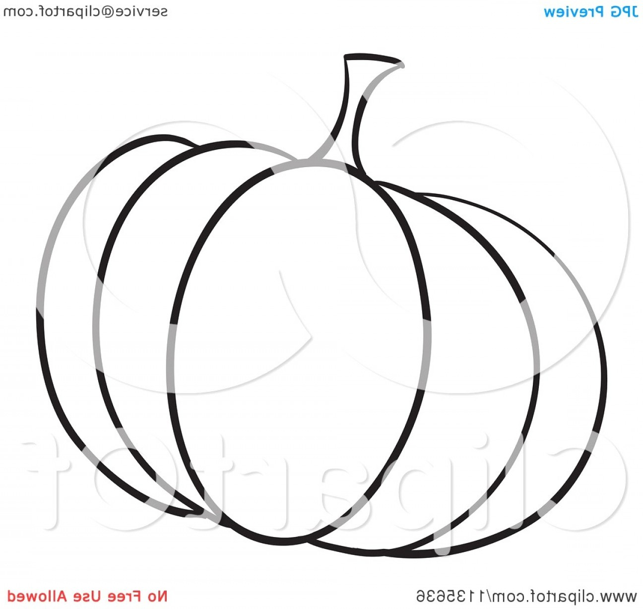 Pumpkin Outline Vector Art: Pumpkin Outline Clipart Black And White Cartoon Of A Royalty Free Vector