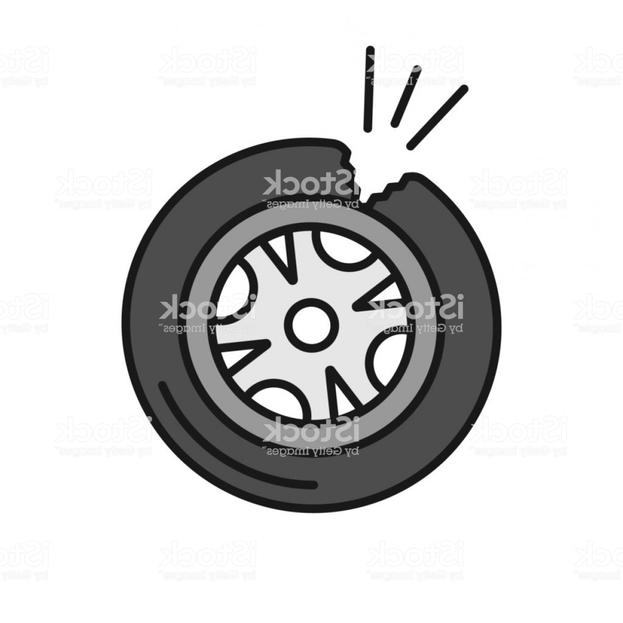 Tire Icon Vector: Punctured Tire Color Icon Gm