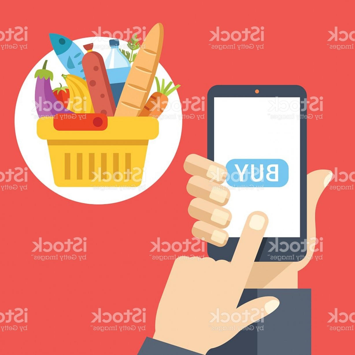 Purchase Vector Art: Purchase Food Using Mobile App Buy Food Online Flat Illustration Gm
