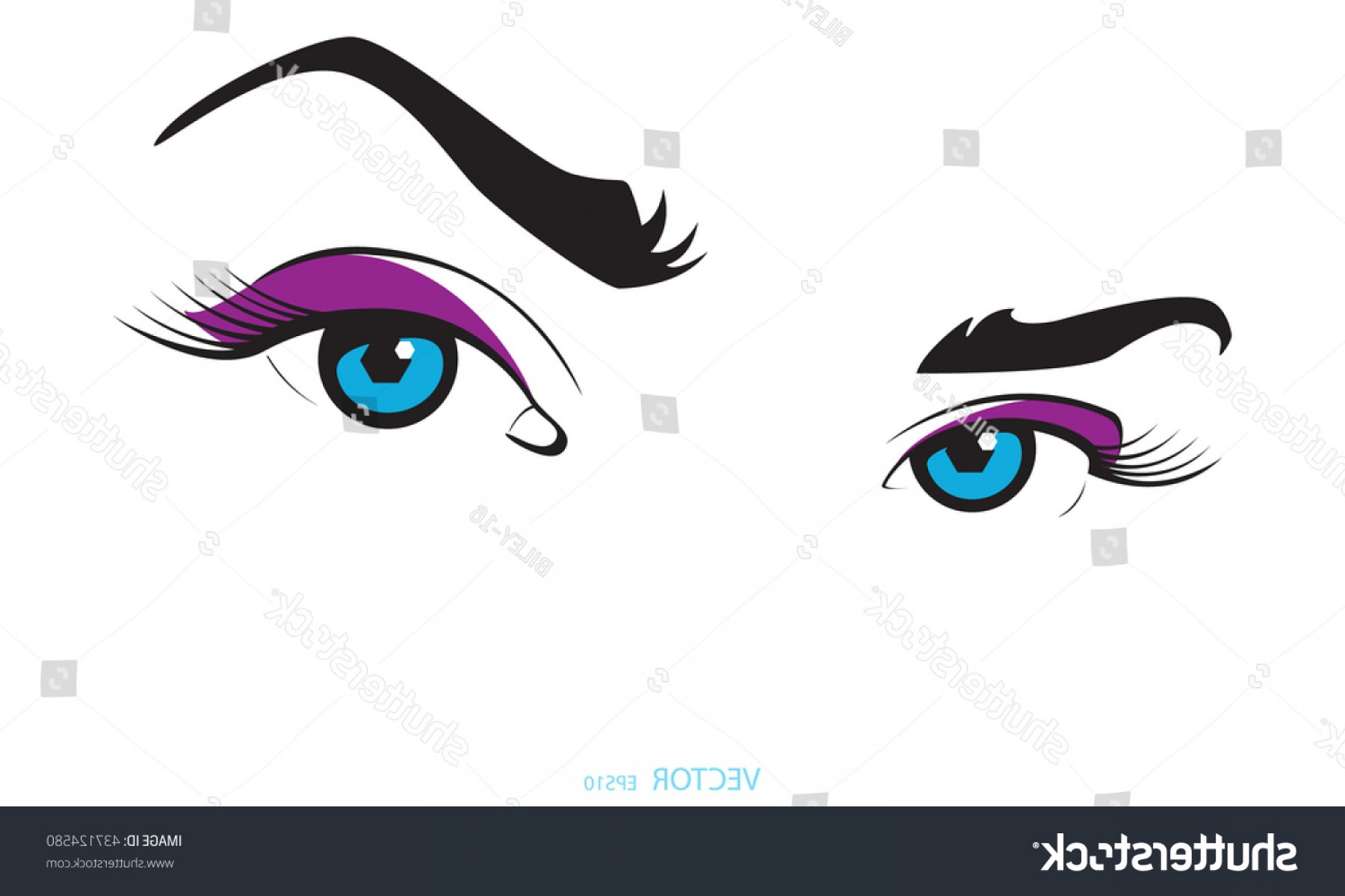 Vector Illustration Eyes Makeup: Purple Eye Makeup Girls Women Beautiful