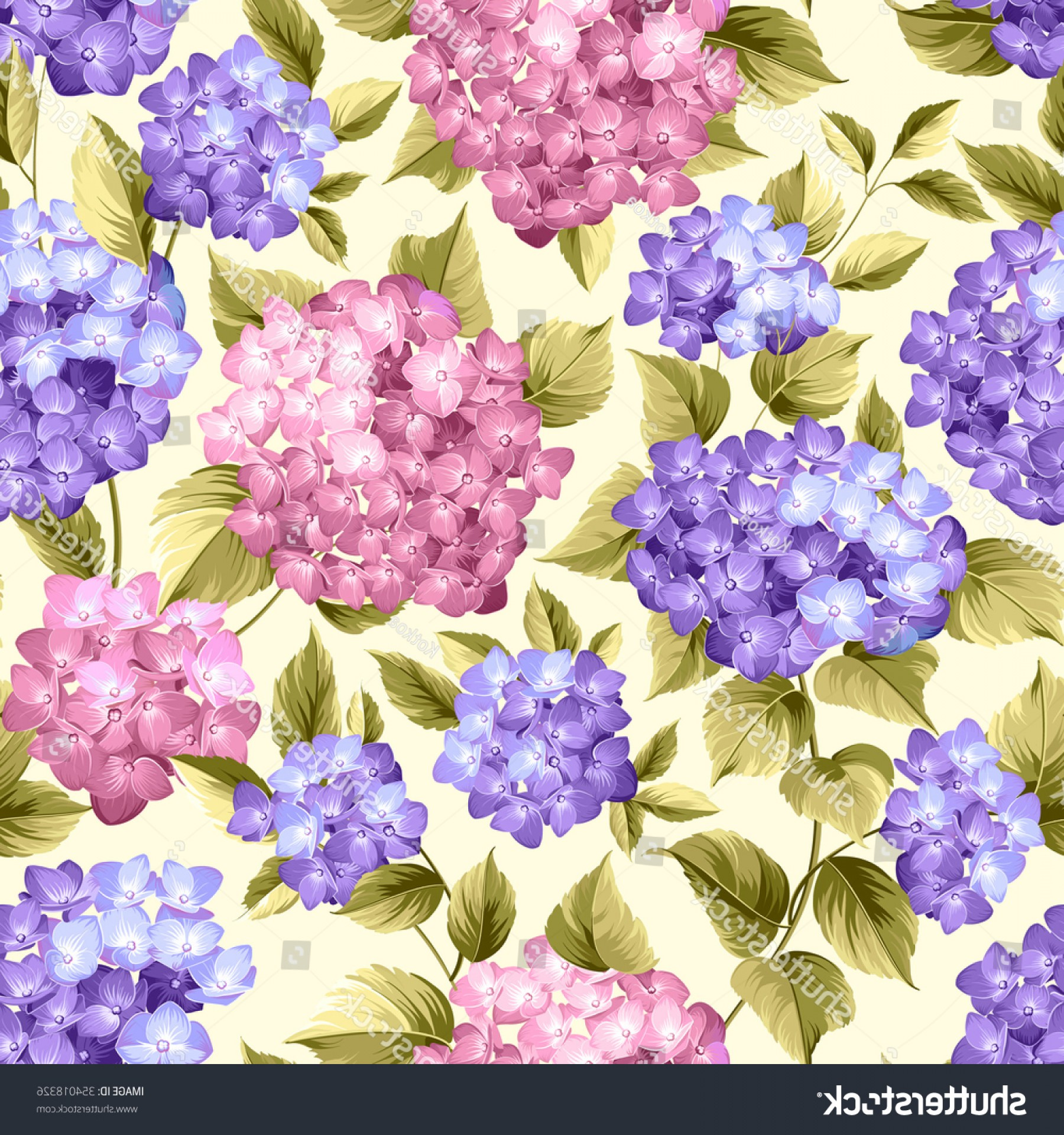Vector Mop Flower: Purple Flower Hydrangea On Seamless Background