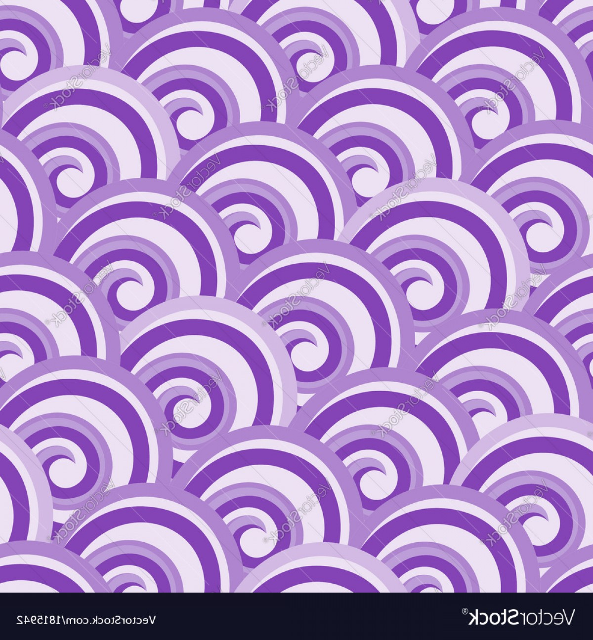 Violet Swirl Design Vector: Purple Seamless Swirl Pattern Vector
