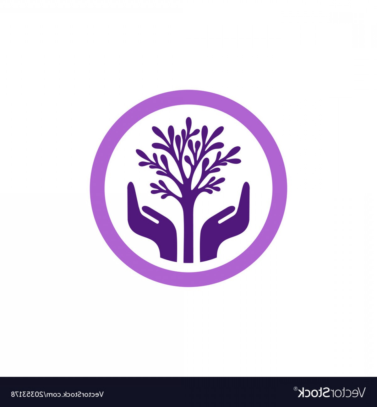 Purple Tree Vector: Purple Tree With Hands In Circle Vector