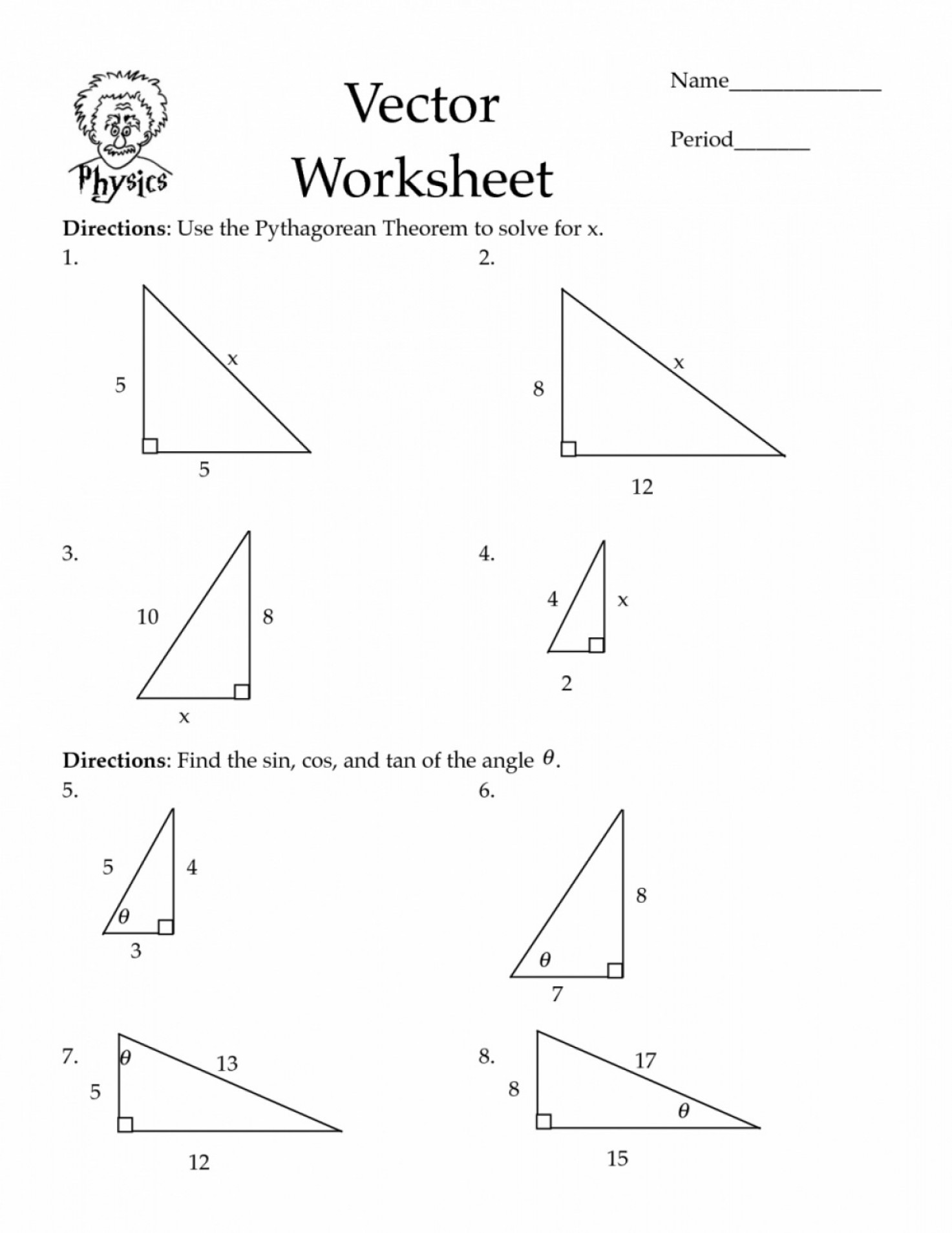 Mosquito Vector Worksheet: Pythagorean Theorem Worksheets Cos Law Worksheet Pdf Math