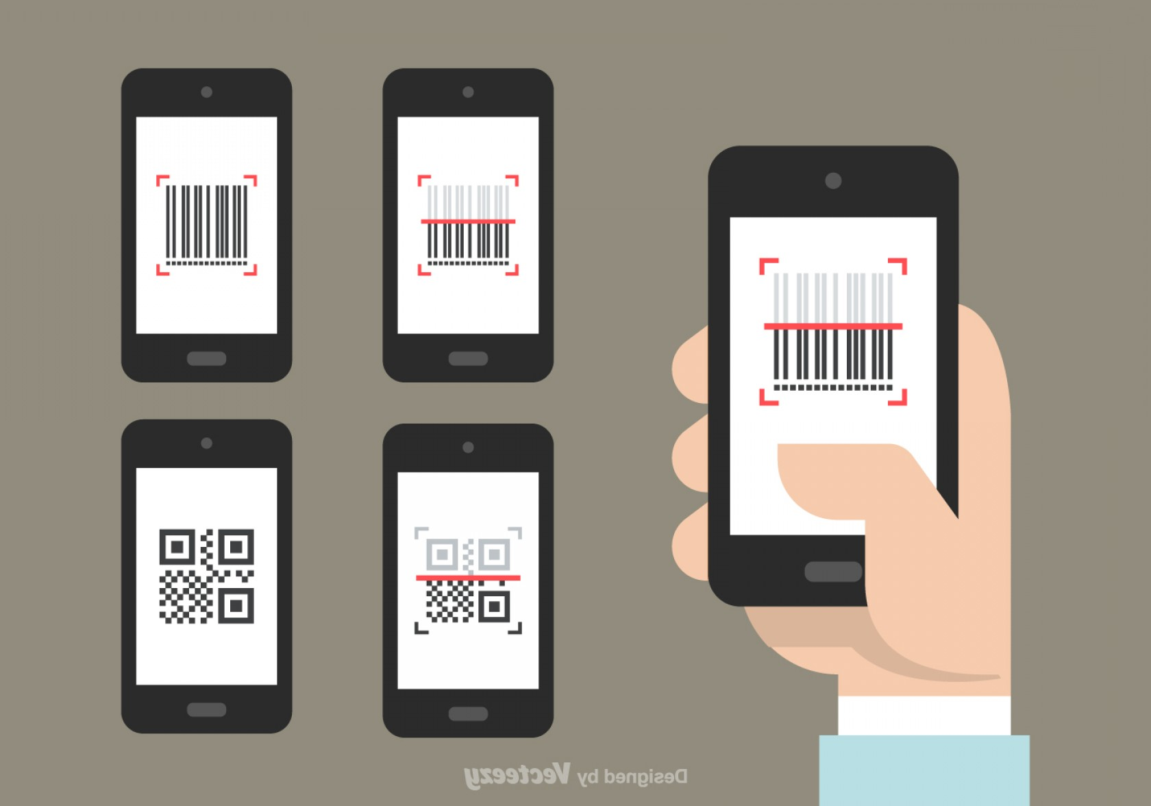 QR Mobile Phone Vector: Qr And Barcode Scanner Vector Icons
