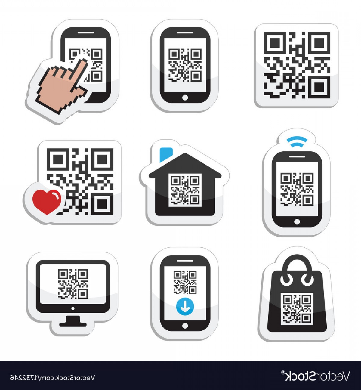 QR Mobile Phone Vector: Qr Code On Mobile Or Cell Phone Icons Set Vector
