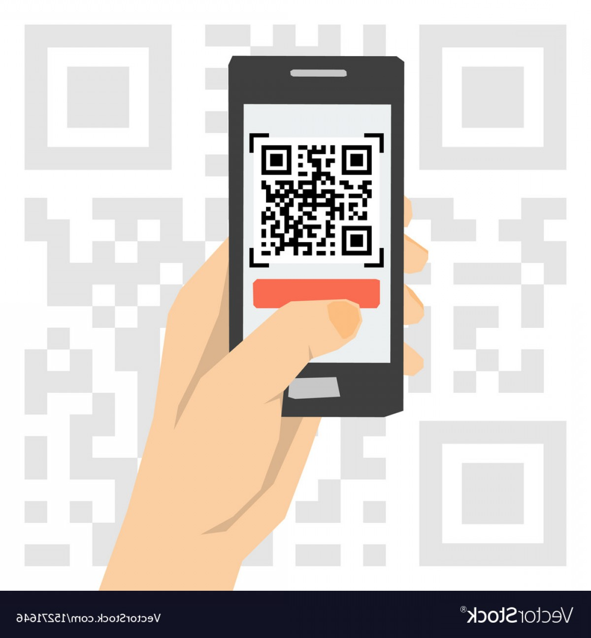 QR Mobile Phone Vector: Qr Code Scanning Hand With Phone Vector