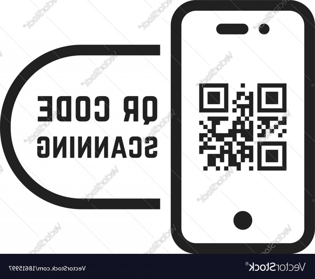 QR Mobile Phone Vector: Qr Code Scanning Like Linear Black Phone Vector