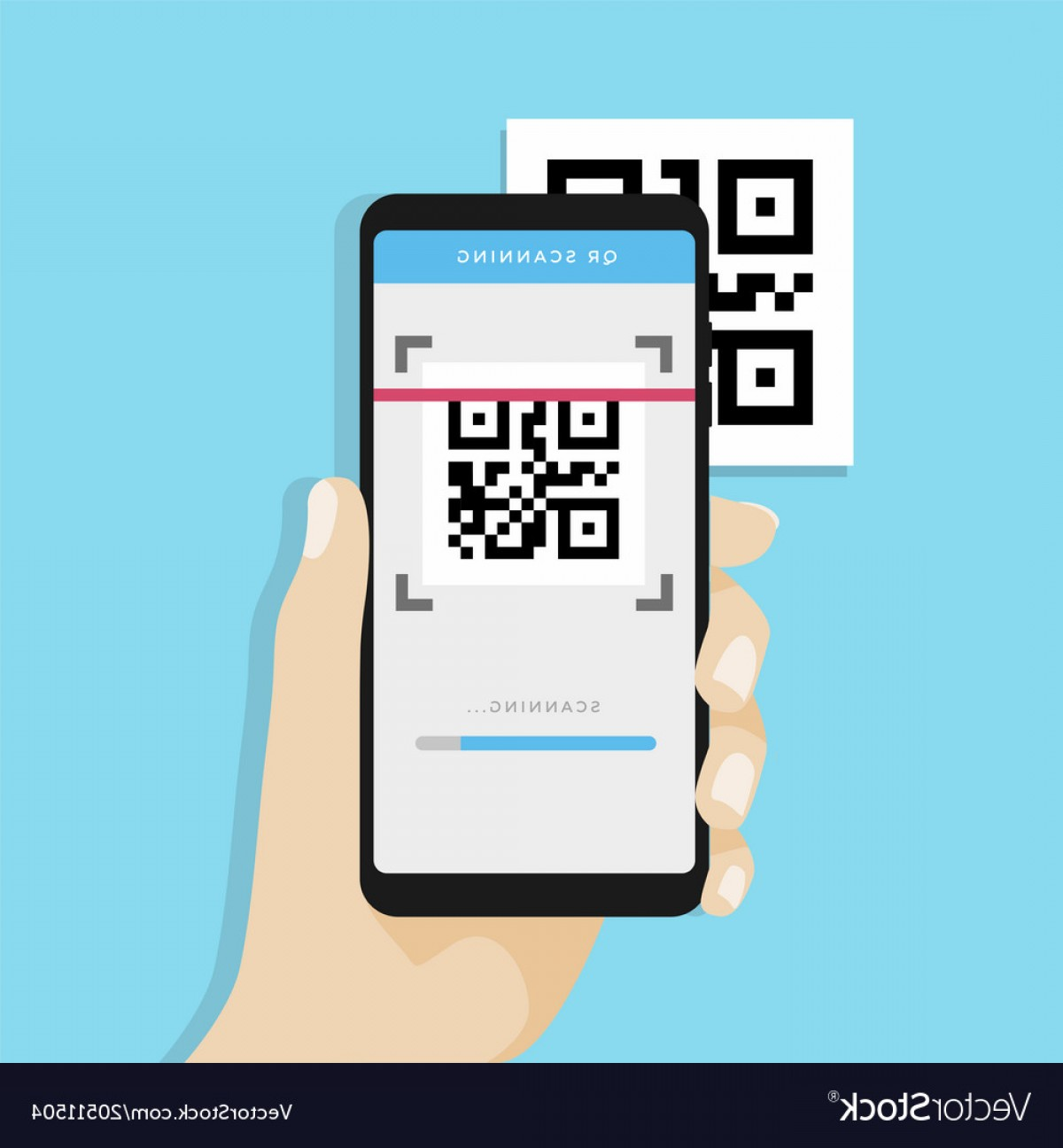 QR Mobile Phone Vector: Qr Code Scanning With Mobile Phone Vector