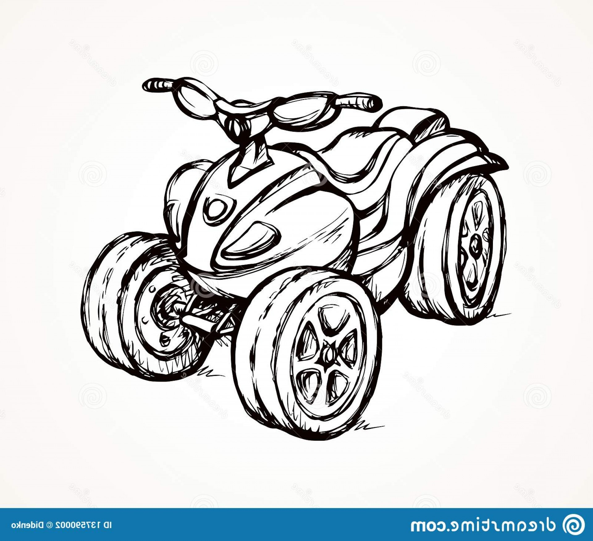 4 Wheeler Vector Art: Quad Bike Vector Drawing Big Three Wheeler Moto Machine Isolated White Desert Sand Background Freehand Outline Ink Hand Drawn Image