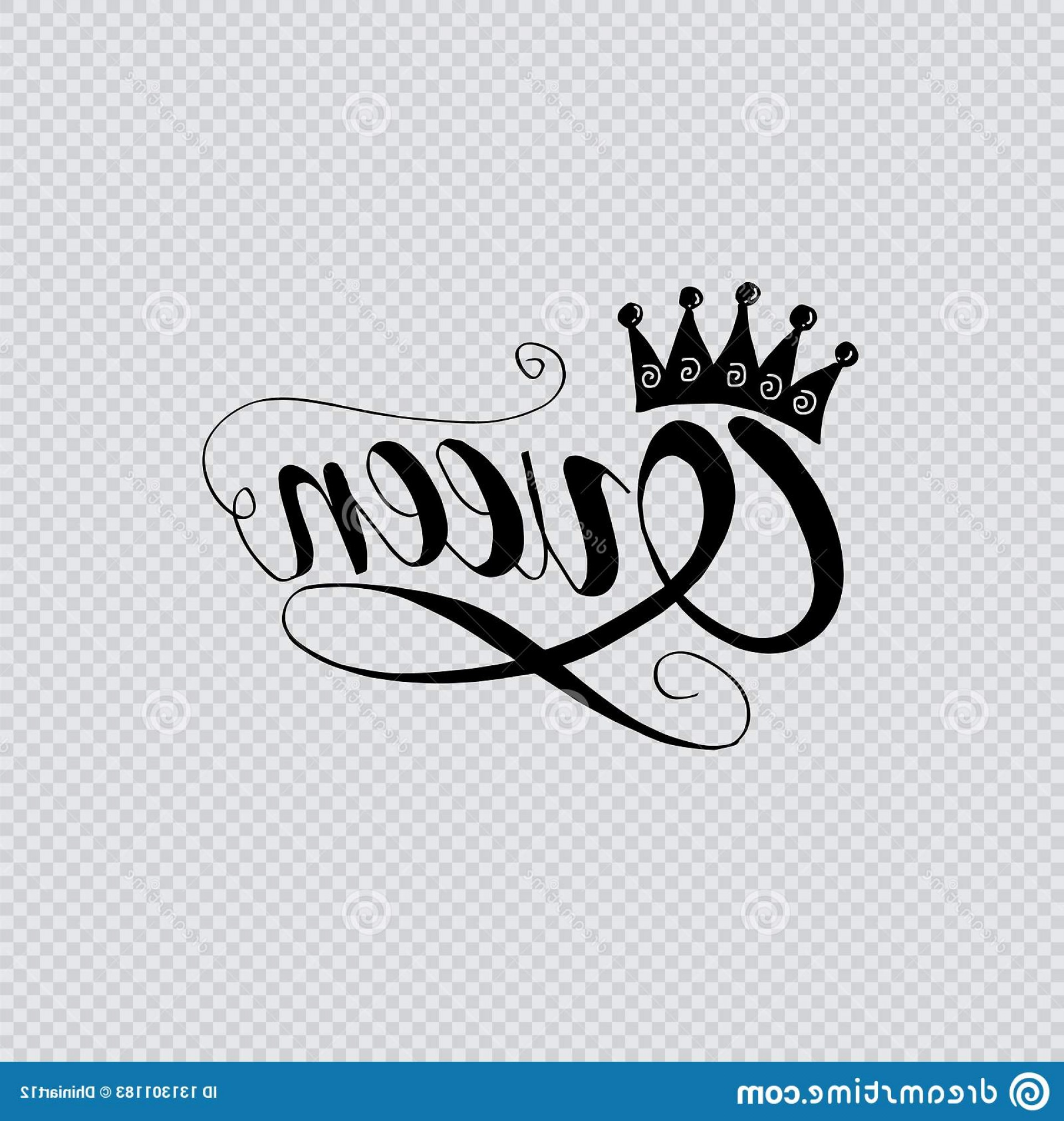 Transparent Queen Crown Vector: Queen Word Crown Hand Lettering Transparent Background Queen Word Crown Image