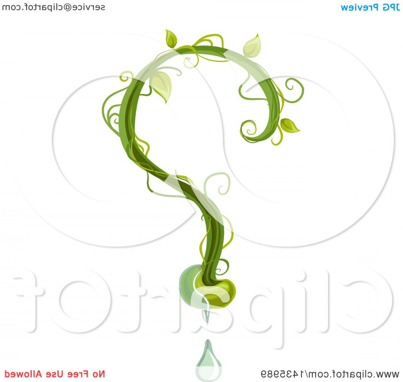Vine Vector Graphics: Question Mark Made Of A Seedling Vine And Water Drop