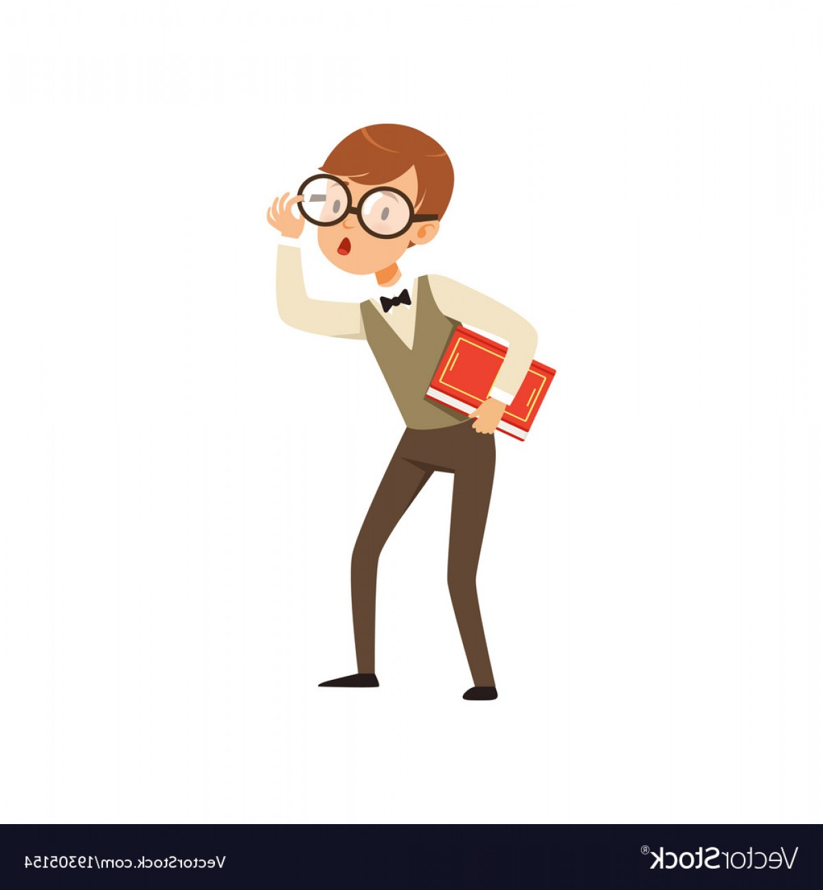 Nerd Vector: Quirky Boy Character Holding Book In Hand Nerd Vector
