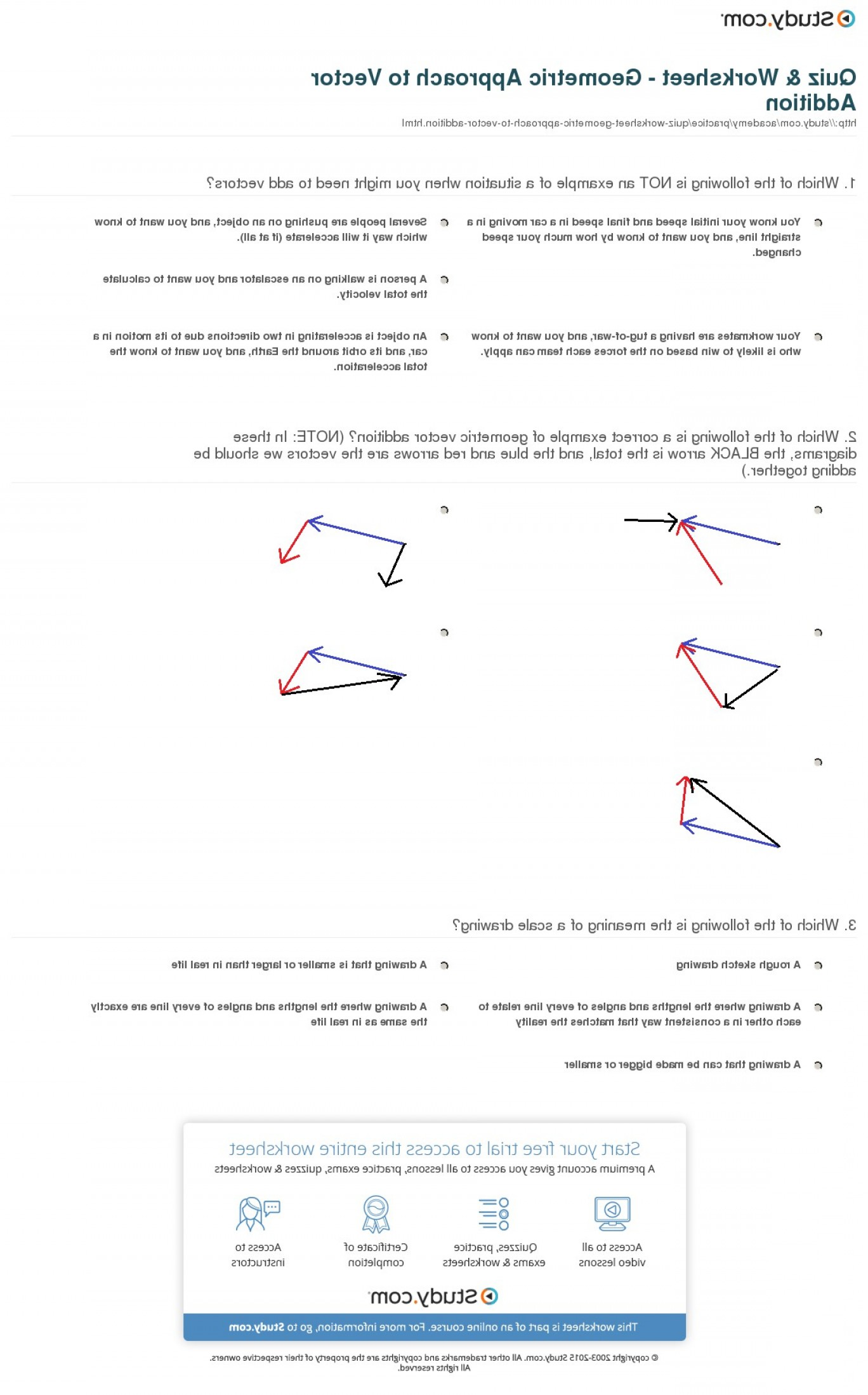 Scale Forces And Vectors: Quiz Worksheet Geometric Approach To Vector Addition