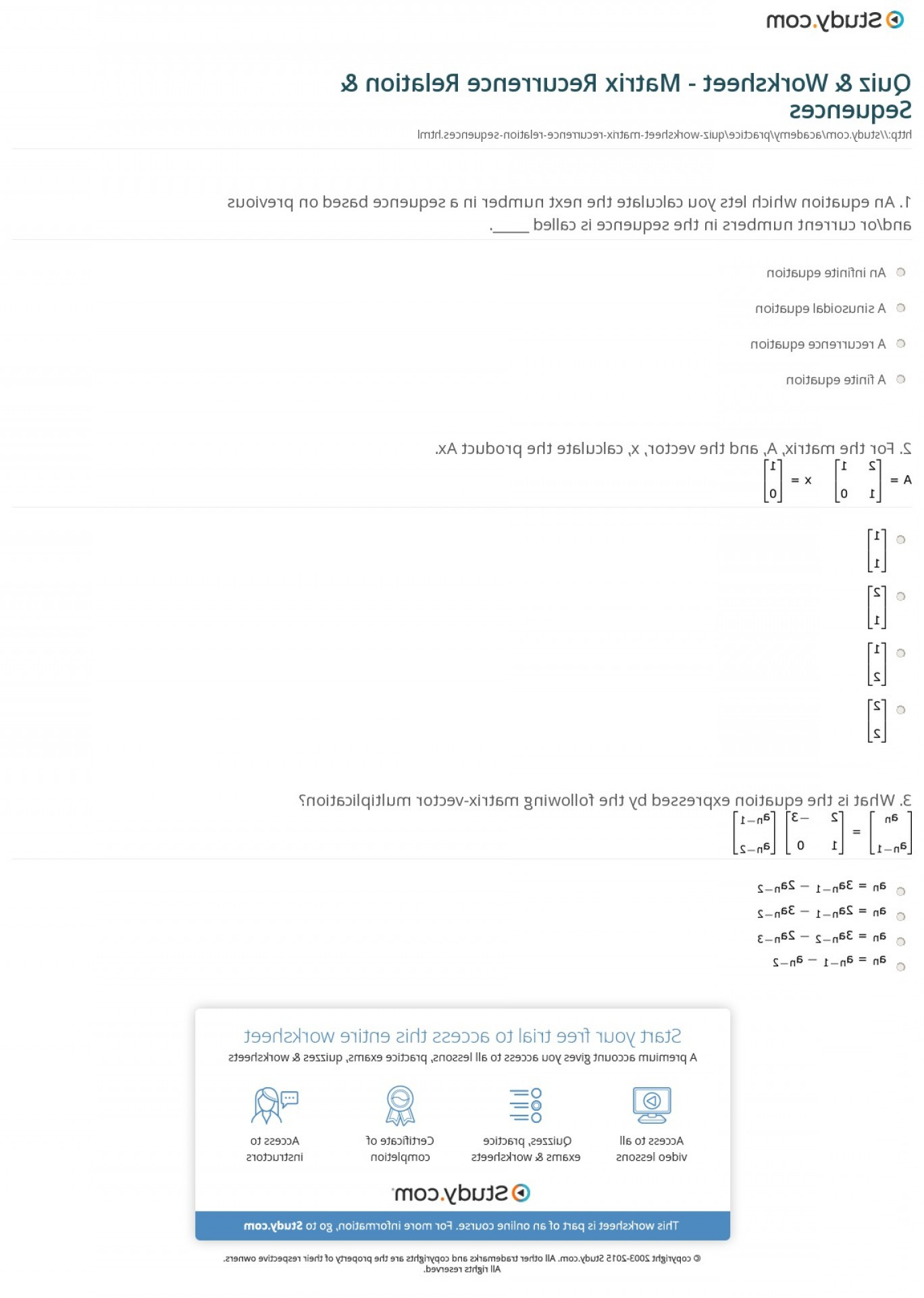 Matrix-Vector Multiplication Calculator: Quiz Worksheet Matrix Recurrence Relation Sequences