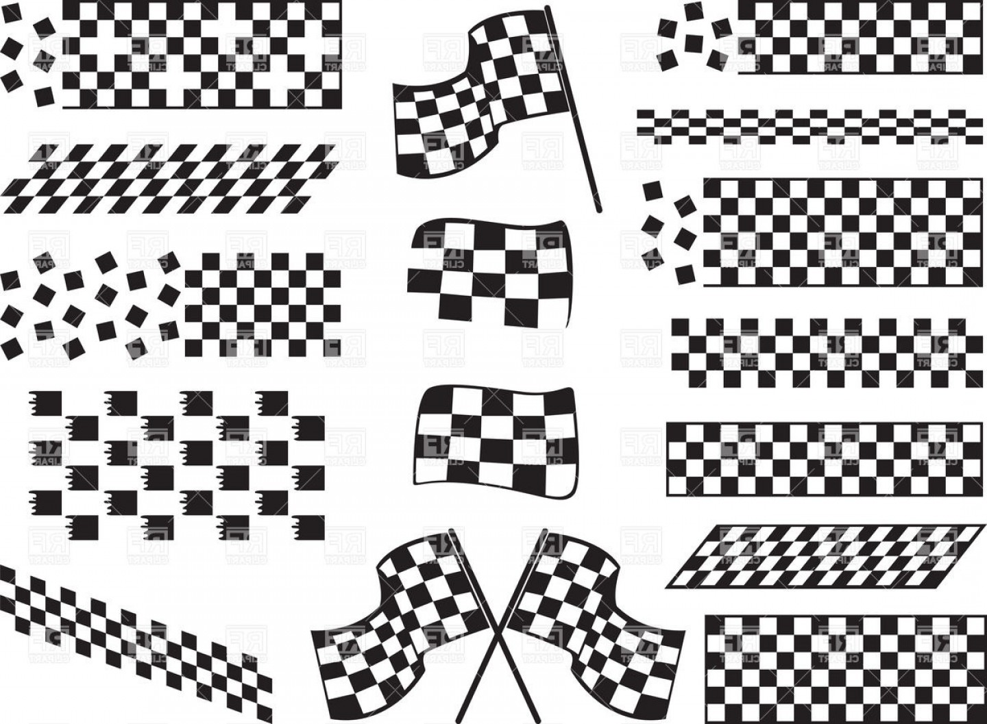 Checker Vector Template: Race Finish Checkered Flags Vector Clipart