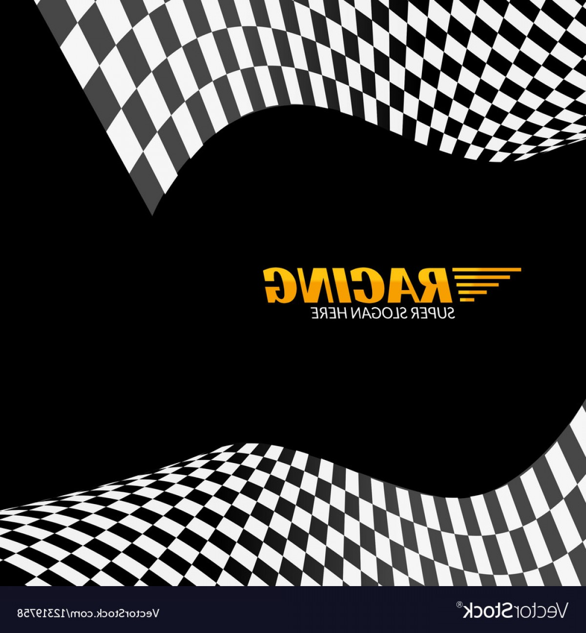 Black And White Vector Racing Graphics: Racing Background With Race Flag Sport Design Vector