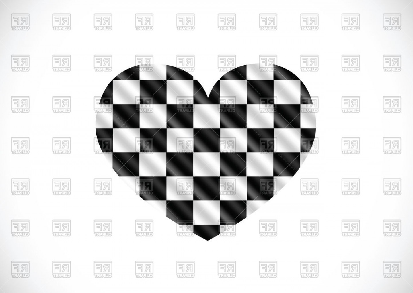Vector Checkered Flag Heart: Racing Checkered Flag In Shape Of Heart Vector Clipart
