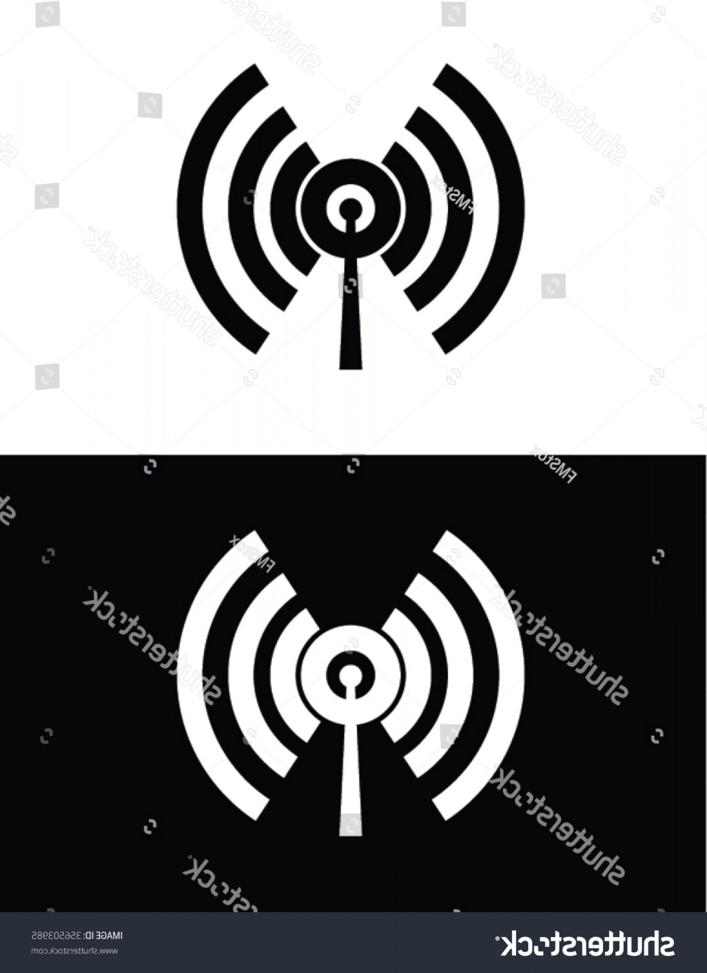 Frequency Icon Vector: Radio Frequency Icon Set Black Reverse