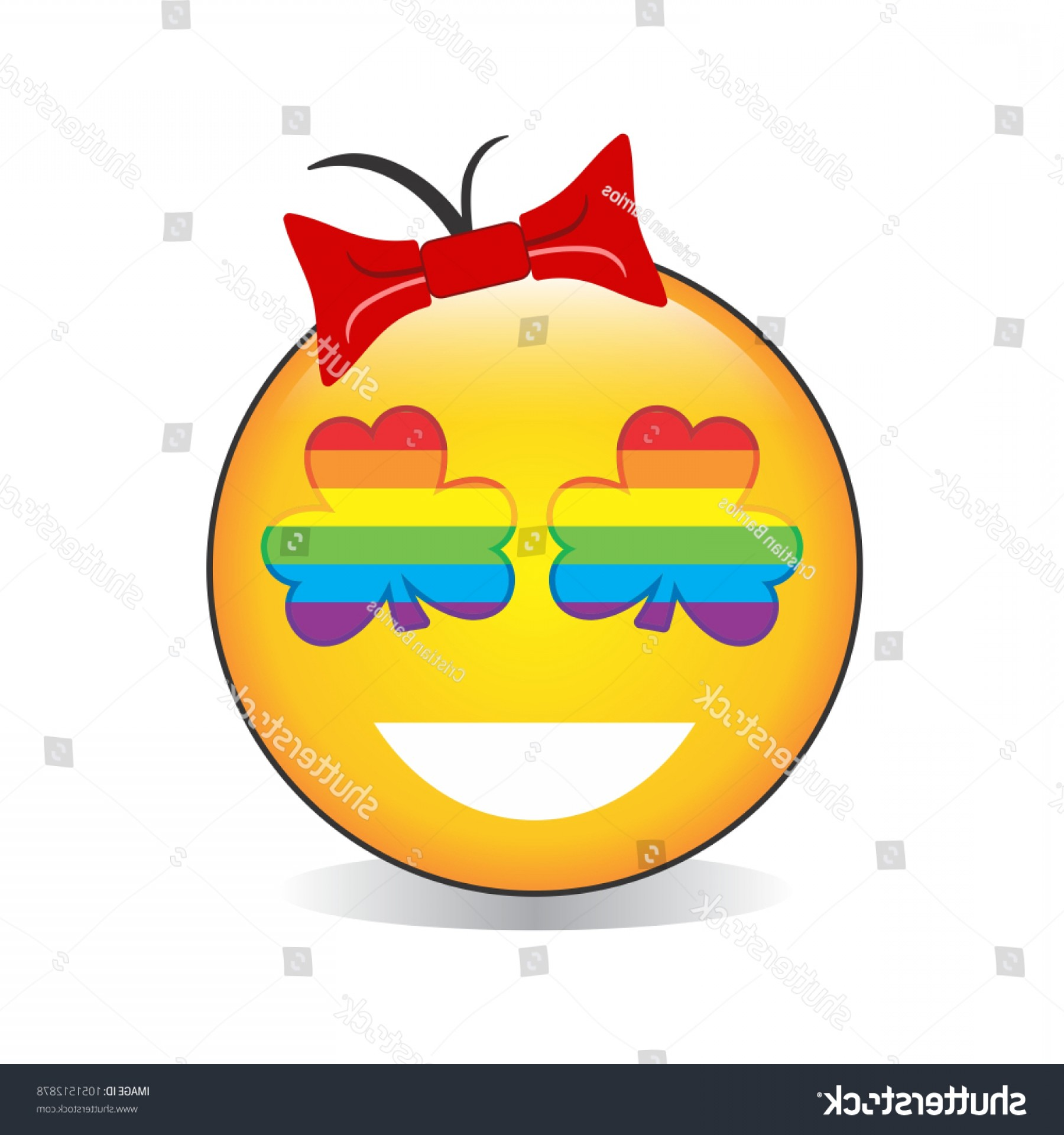 Rainbow Face Emoji Vector: Rainbow Clover On Face Emoji Vector