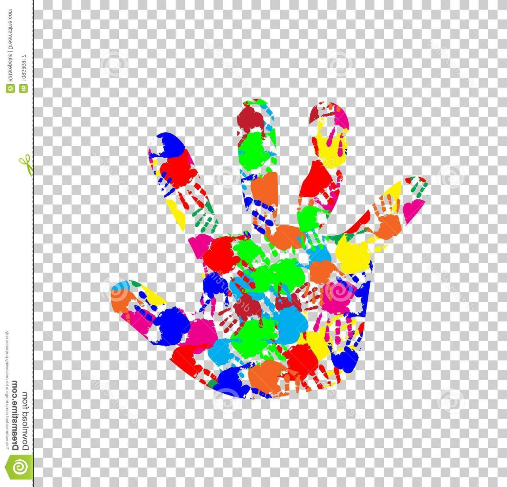 Hand Prints Vector Transparent Background: Rainbow Multicolored Silhouette Baby Hand Colorful Handprint Pattern Inside Isolated Transparent Background Vector Image