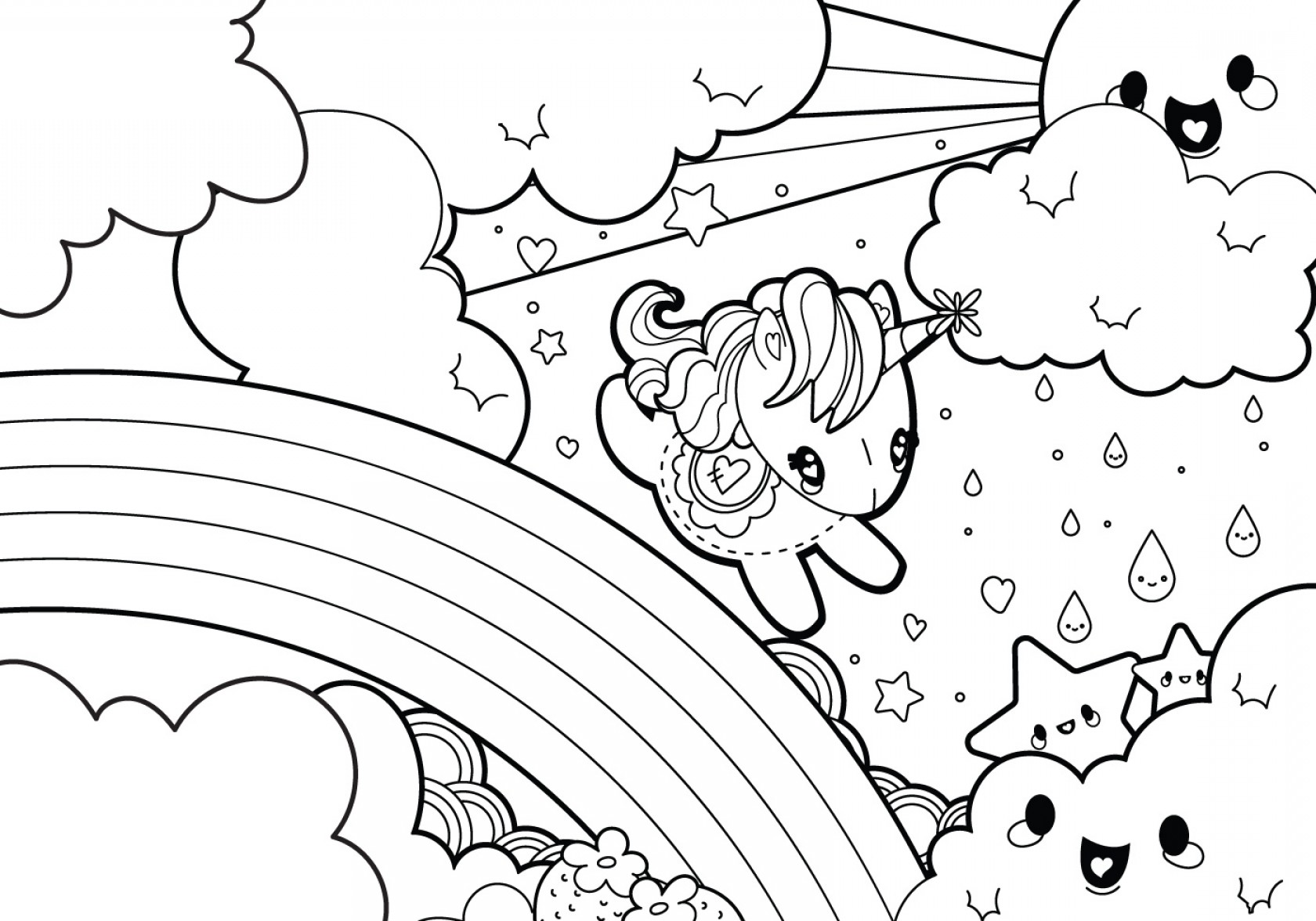Vector Coloring Sheet: Rainy Rainbow Unicorn Scene Coloring Page