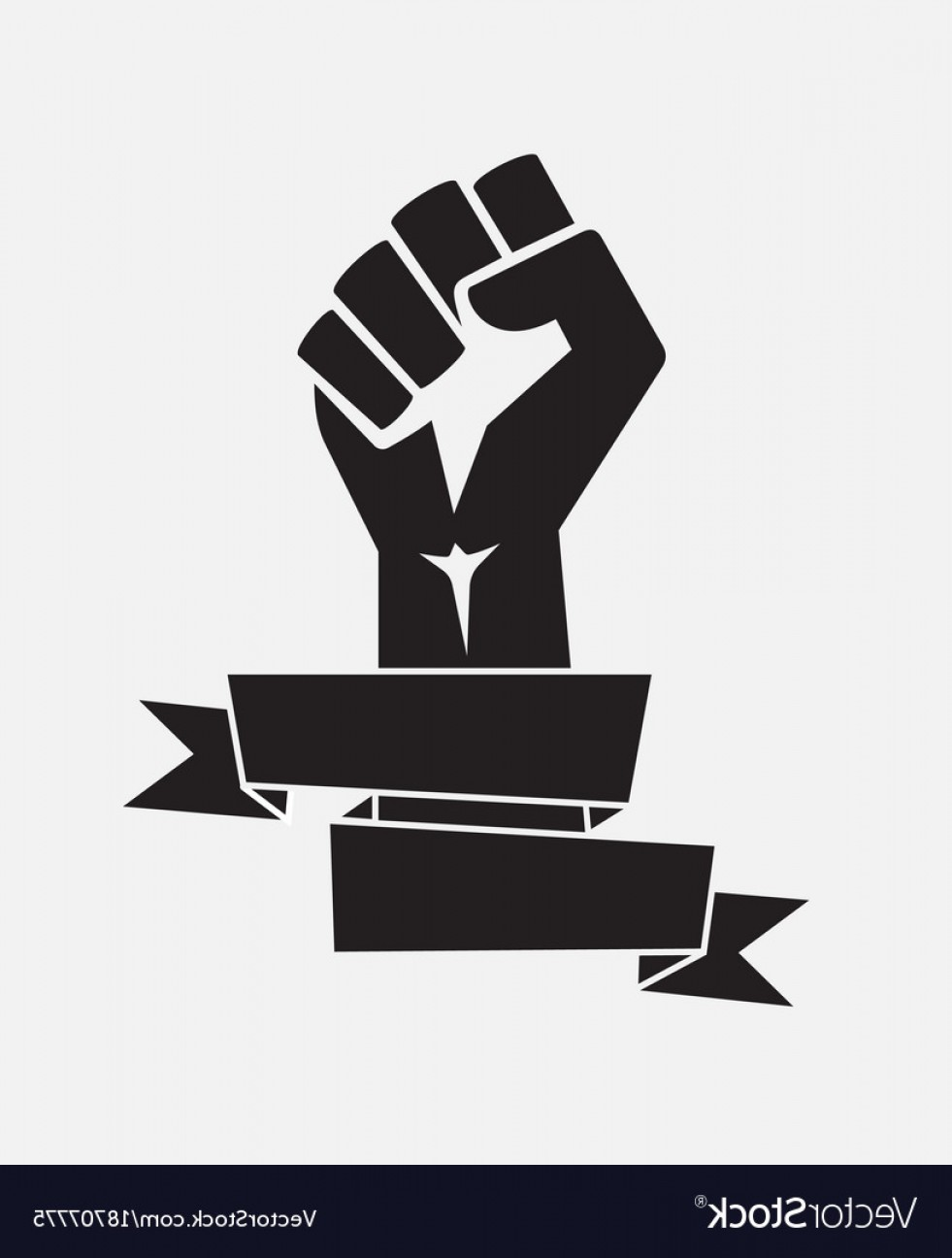 Black Power Fist Vector: Raised Fist Poster Black With Ribbon Isolated Vector