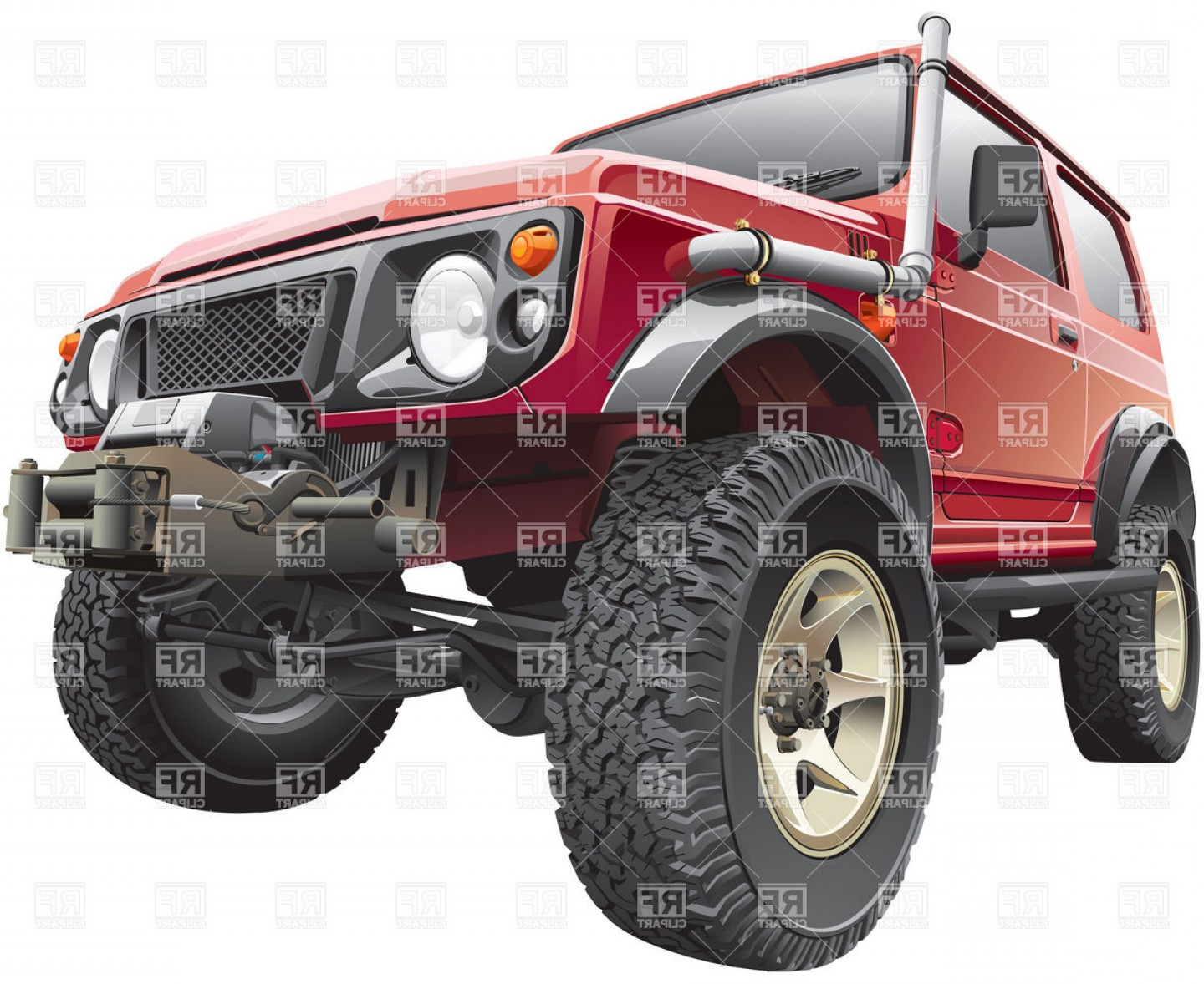 Jeep Off-Road Vector Art: Rally Off Road Vehicle With Truck Body Hoist Vector Clipart
