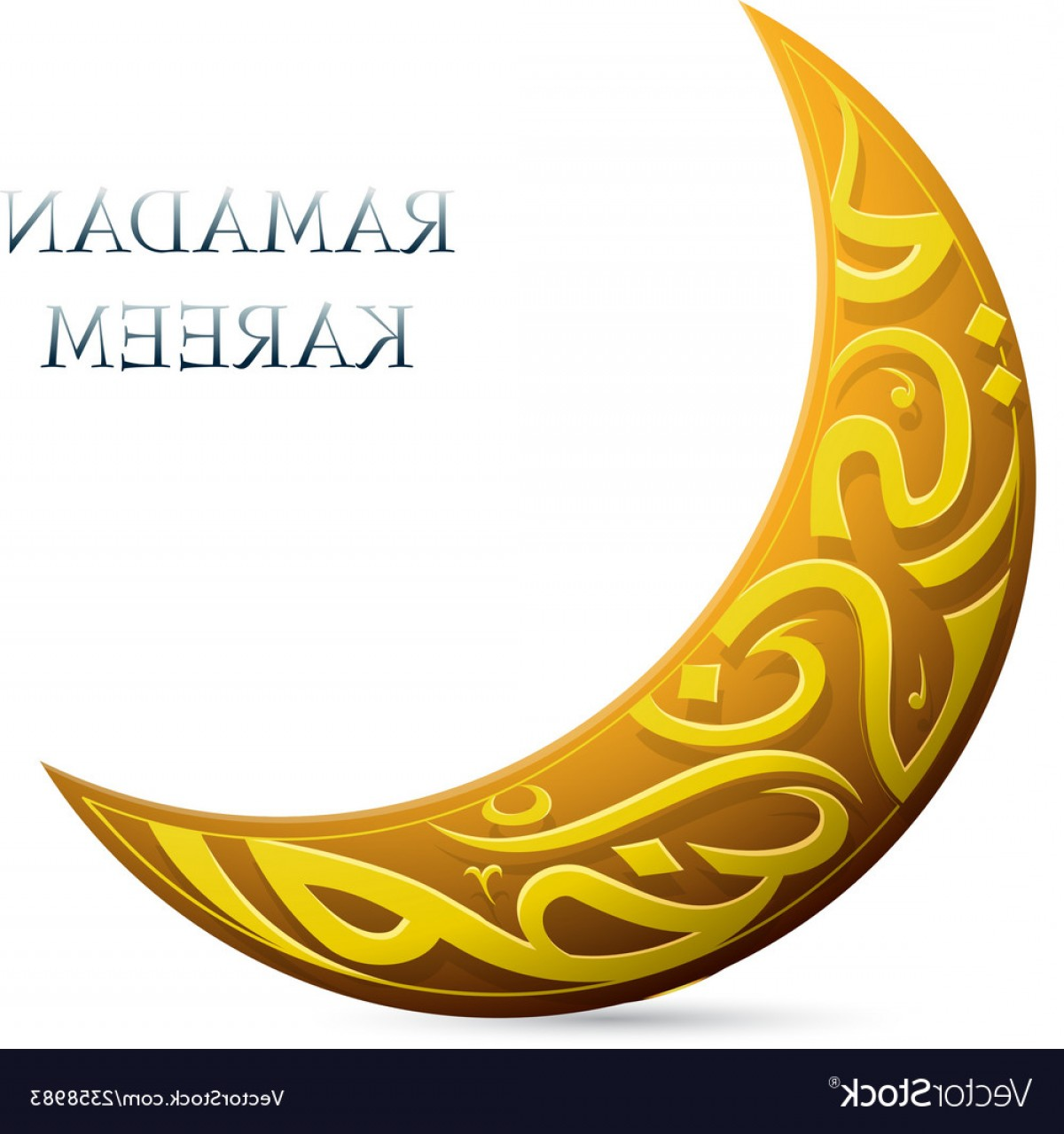 Cresent Moon Vector: Ramadan Kareem Greetings Shaped Into Crescent Moon Vector