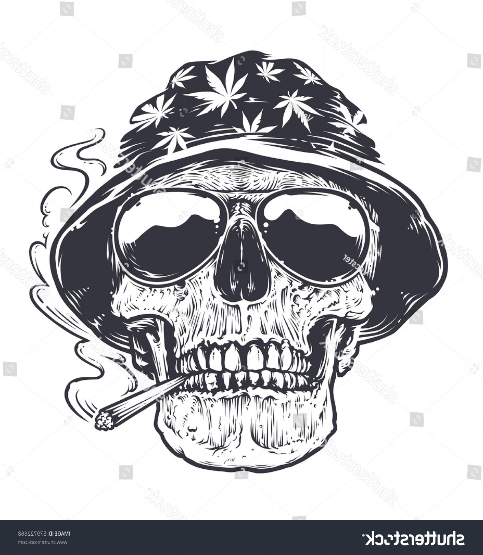 Cool Skull Vector: Rastaman Skull Vector Art Hat Cannabis