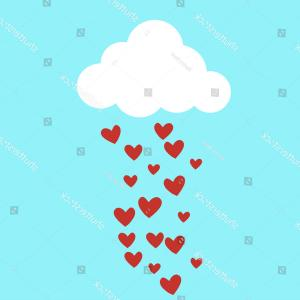 Pic Blue Sky Vector Graphics: Rain Drops Red Hearts Blue Sky