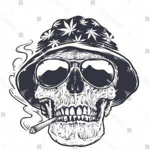 Cool Skull Vector: Cool Skull Tattoo Sombrero On Red
