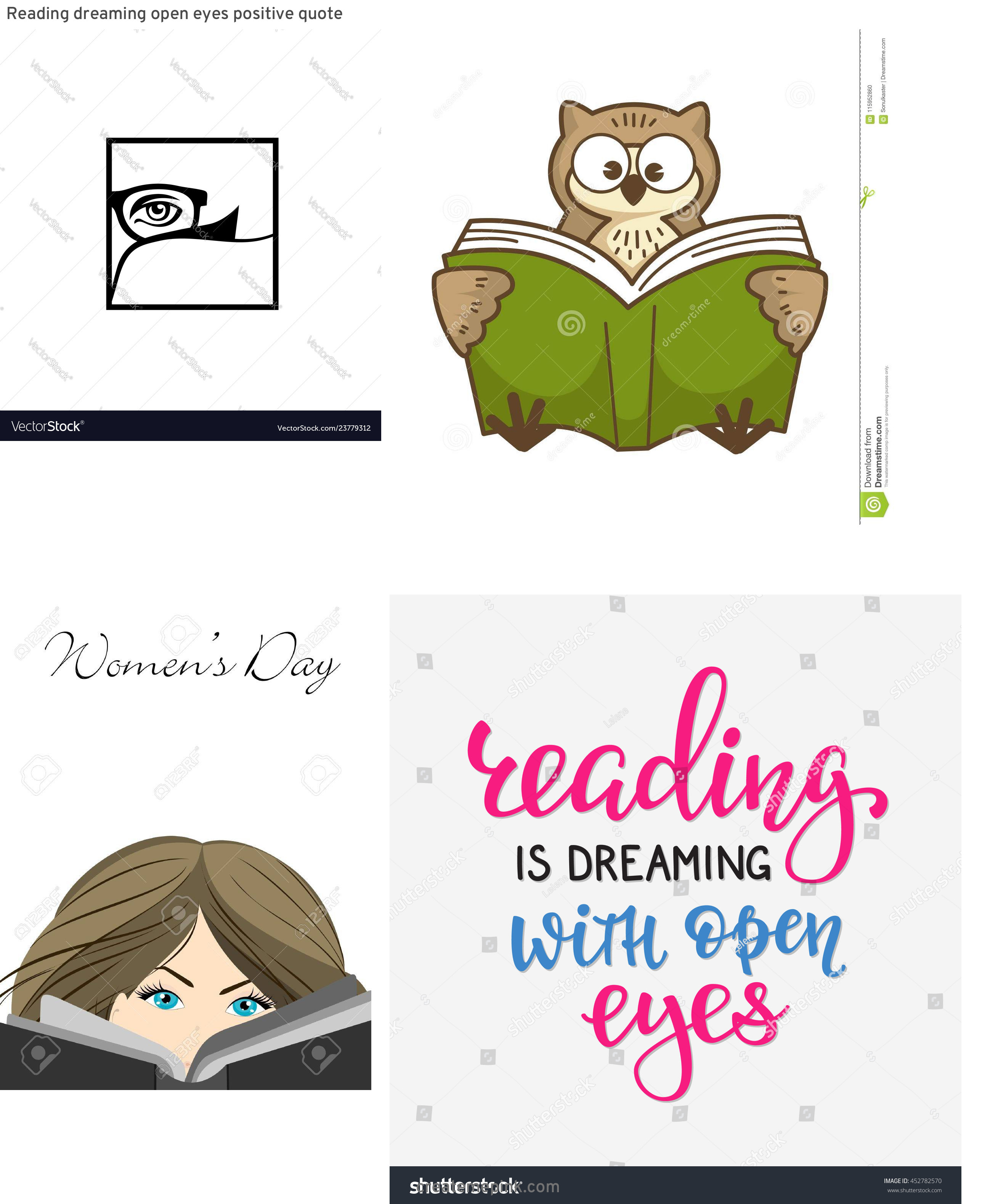 Vector Eyes Reading: Reading Dreaming Open Eyes Positive Quote
